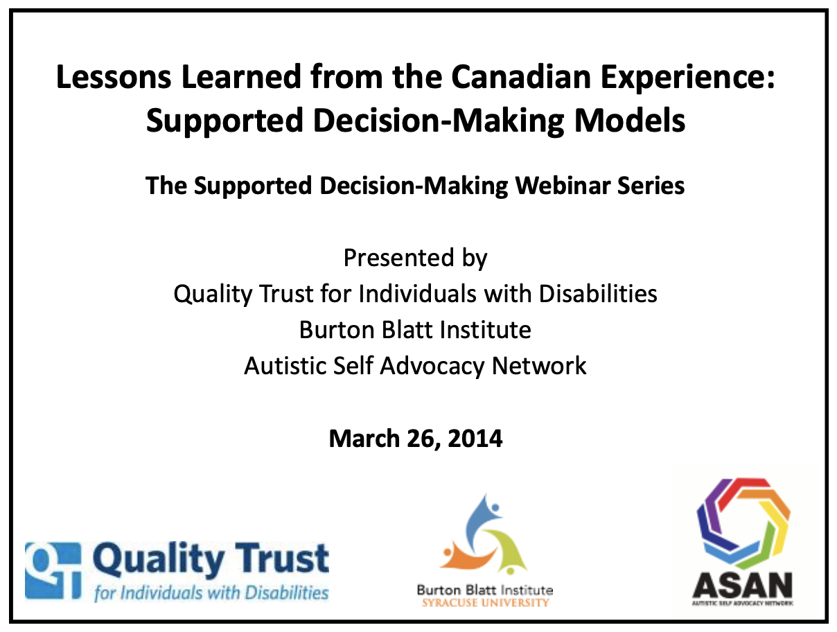 Cover art for: Lessons Learned from the Canadian Experience: Supported Decision-Making Models
