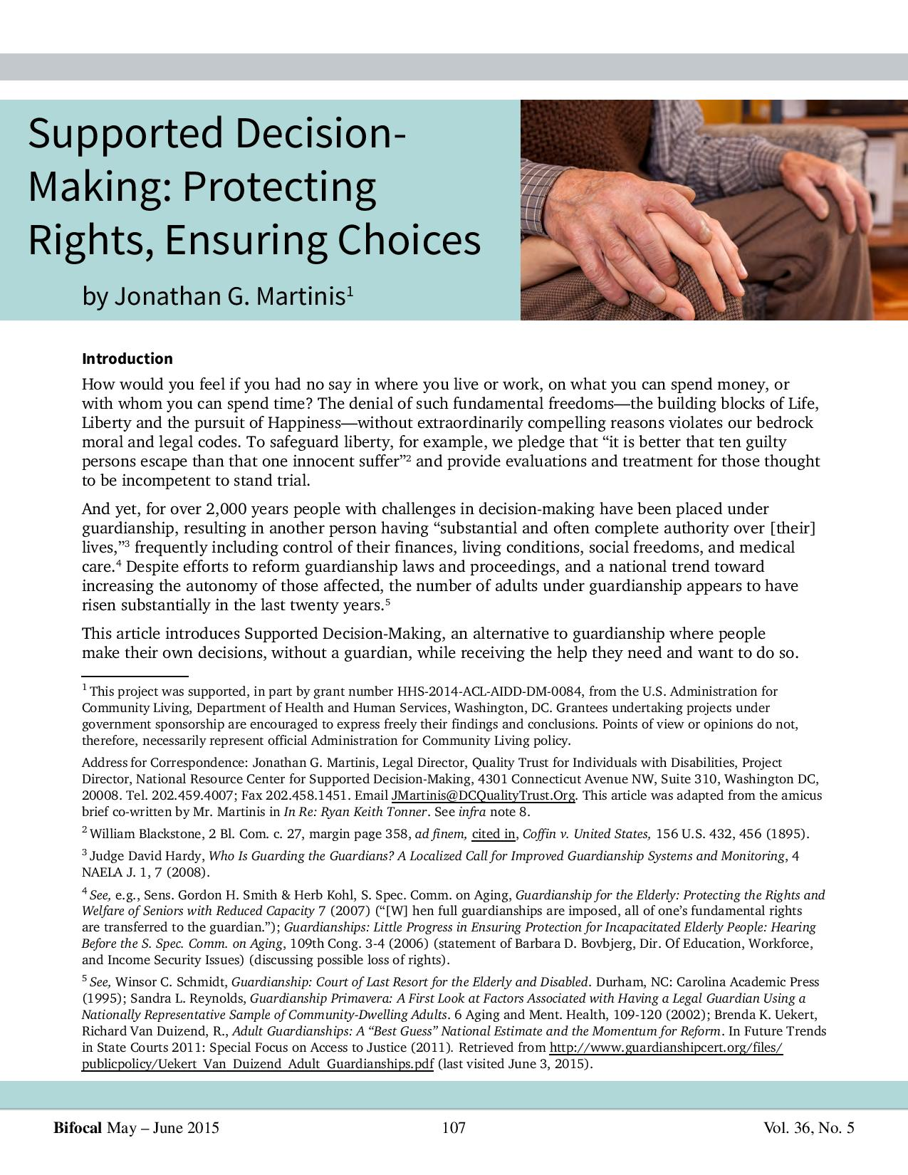 Cover art for: Supported Decision Making: Protecting Rights, Ensuring Choices