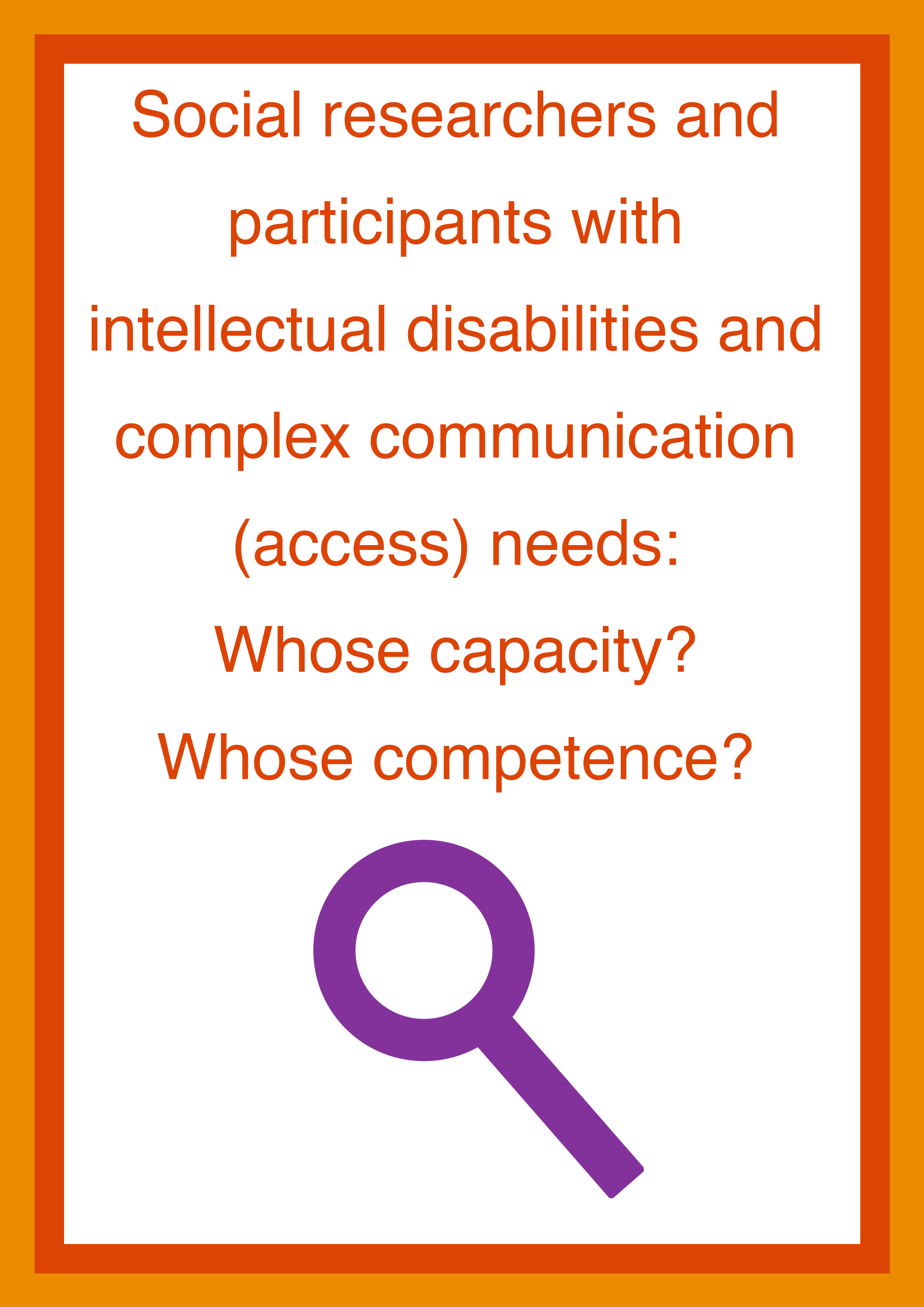 Cover art for: Social researchers and participants with intellectual disabilities and complex communication access needs: Whose capacity? Whose competence?