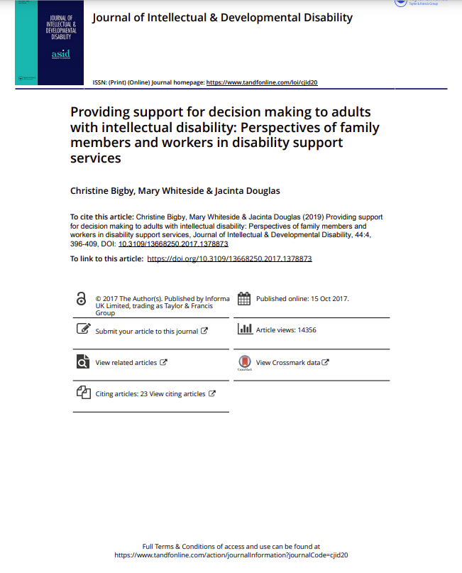 Cover art for: Providing support for decision making: Perspectives of family members and workers in disability support services