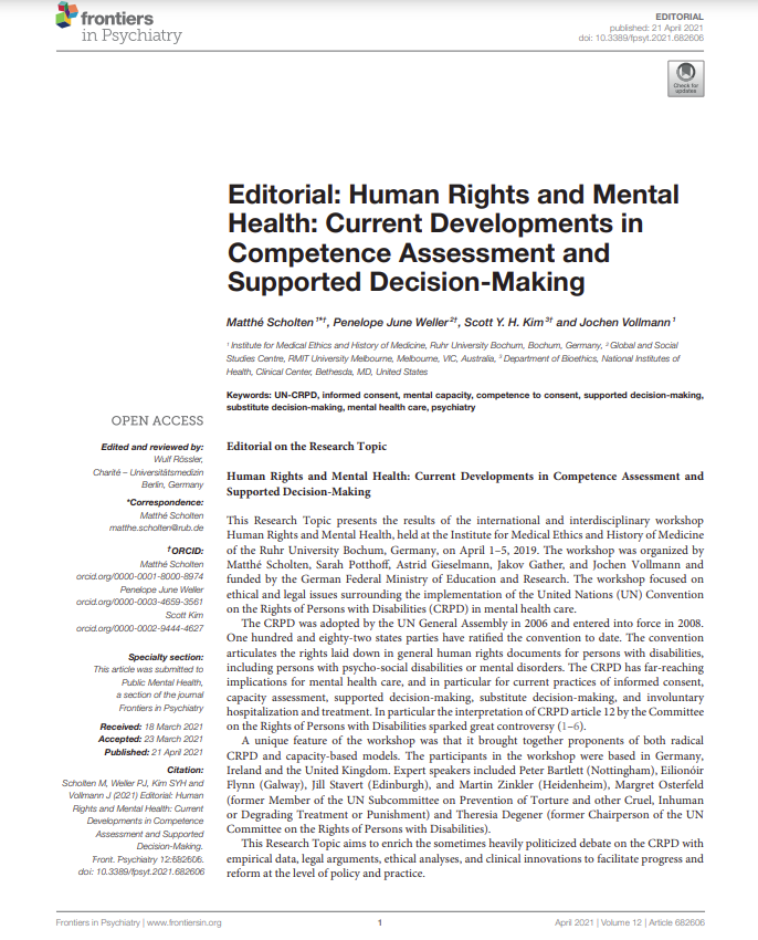 Cover art for: Editorial: Human Rights and Mental Health: Current developments in competence assessment and supported decision making