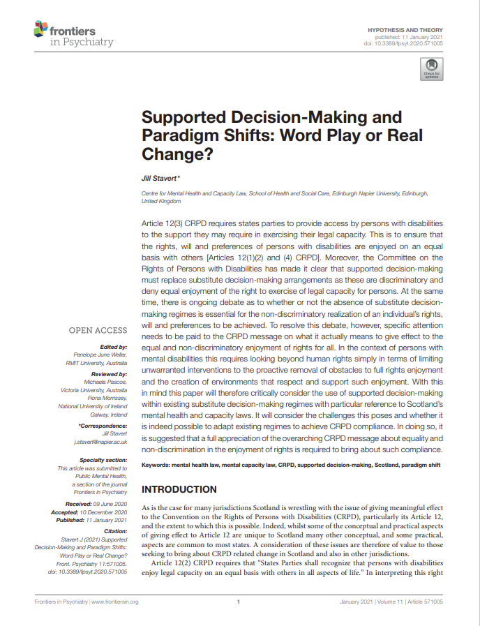 Cover art for: Supported Decision Making and Paradigm Shifts: Word Play or Real Change?