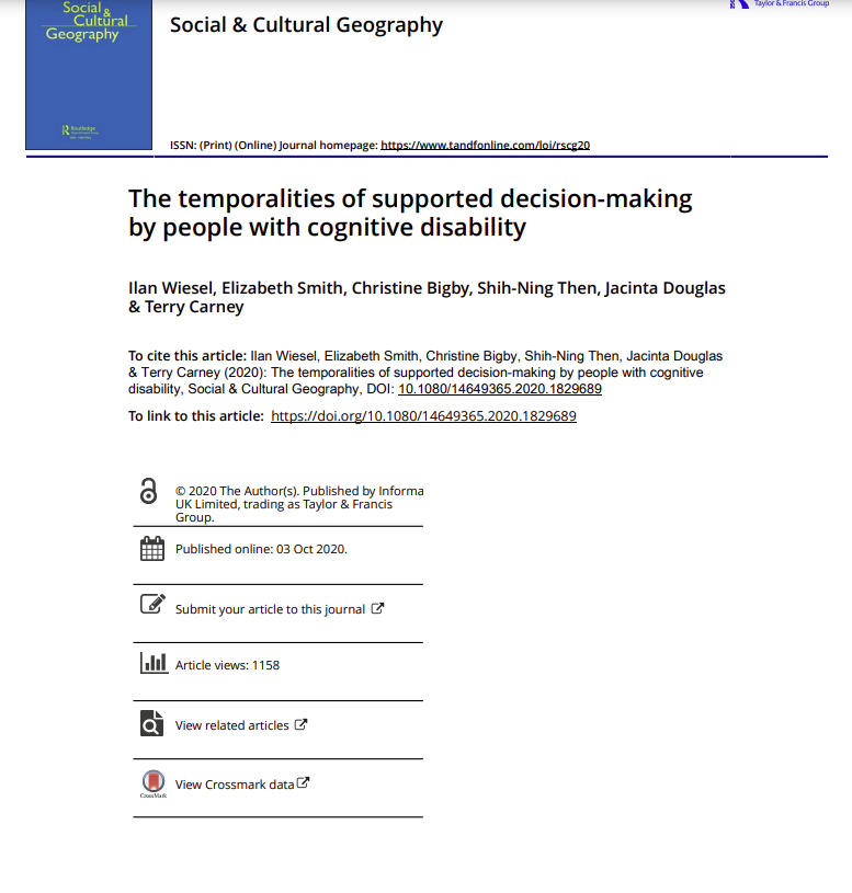 Cover art for: The temporalities of supported decision-making by people with cognitive disability
