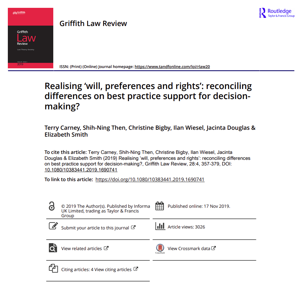 Cover art for: Realising 'will, preferences and rights': reconciling differences on best practice support for decision-making?