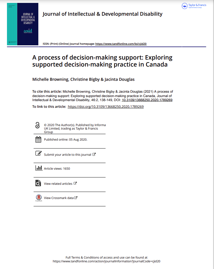 Cover art for: A process of Decision Making Support: Exploring supported decision making practice in Canada