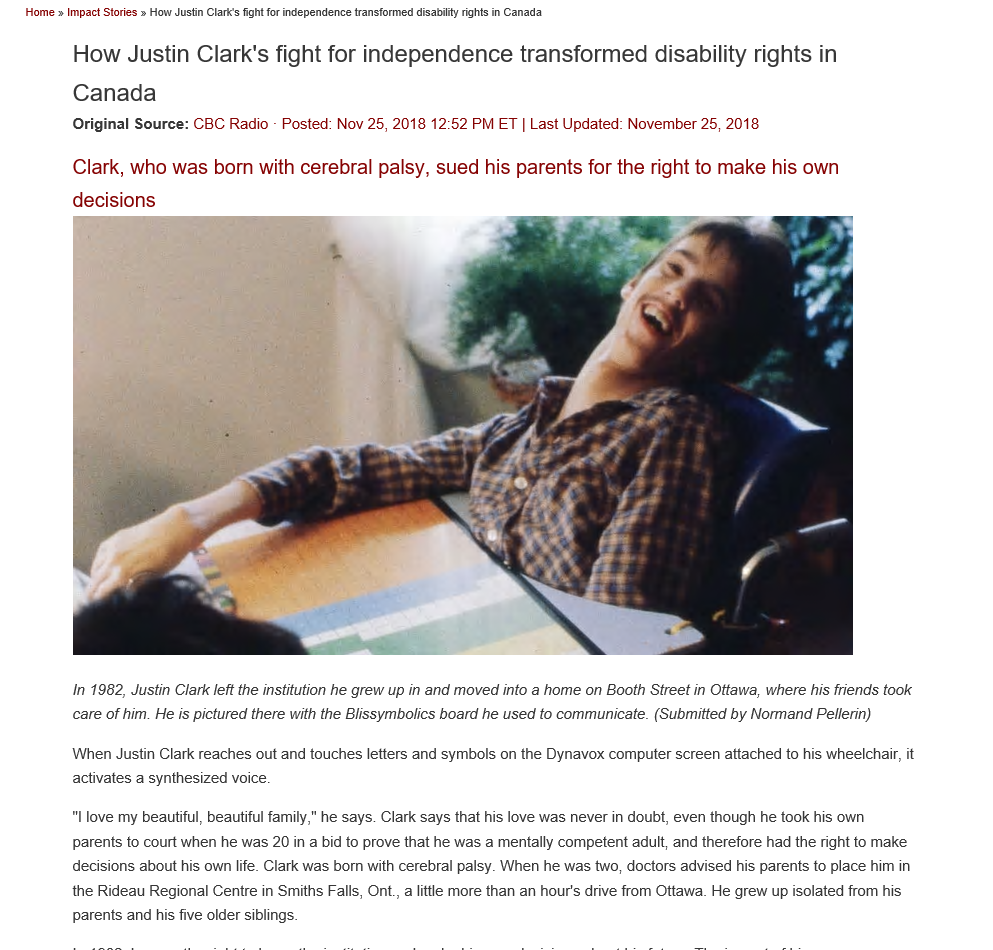 Cover art for: How Justin Clark's fight for independence transformed disability rights in Canada